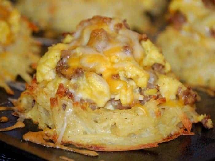 Scrambled Eggs and Sausage in Potato Nests Recipe