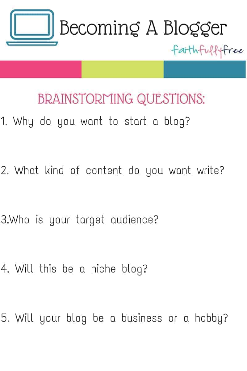 Becoming A Blogger - Brainstorming Questions Printable