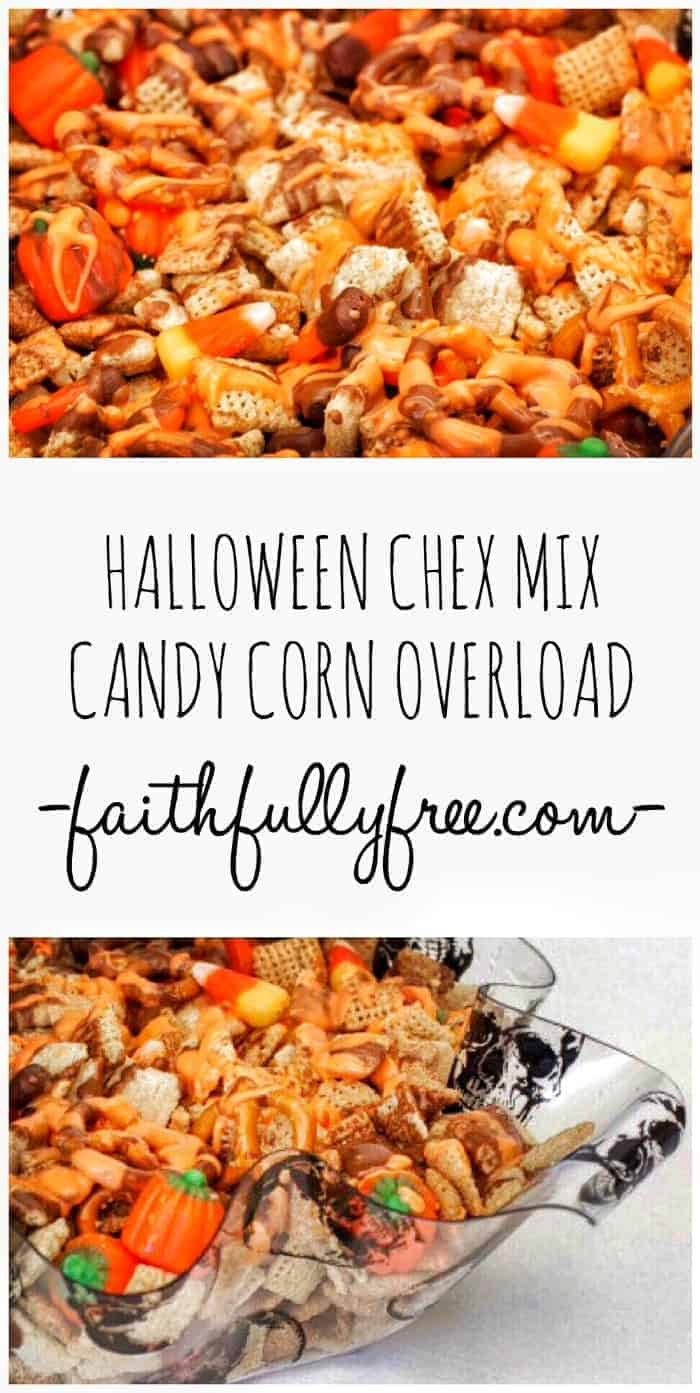 Easy Halloween Chex Mix Recipe Candy Corn - This recipe is so easy to make and everyone at your child's Halloween party will love the way it tastes! Sweet Halloween Chex Party Mix.