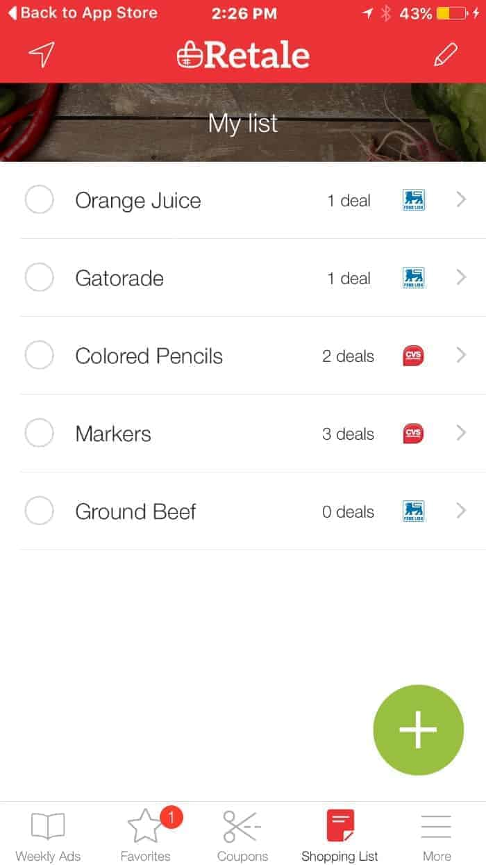 Retale App Shopping List Multiple Stores