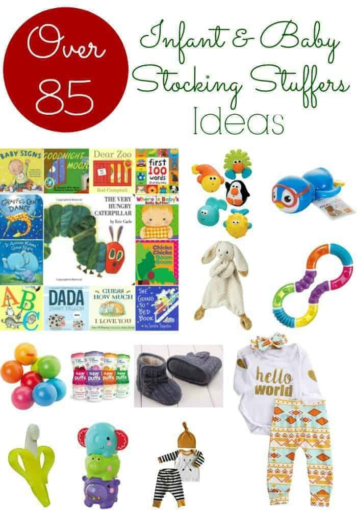 Baby Stocking Stuffers: Over 85 Stocking Stuffer Ideas For Infants and Babies. Christmas gifts for babies. Christmas gifts for newborns. Stocking stuffers for baby girls. Stocking stuffers for baby boys. Cheap stocking stuffers for babies.