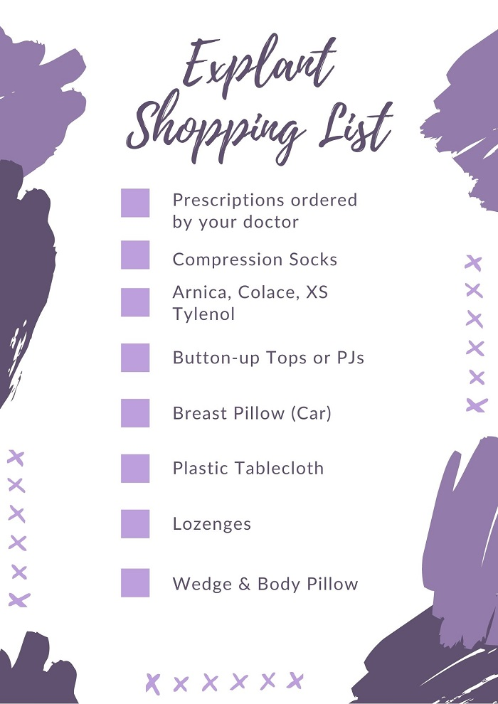 Breast Explant Surgery Pre-Op Shopping List {Printable}