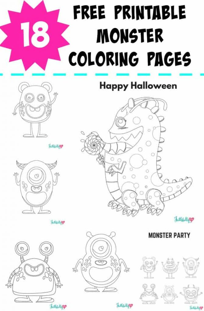 Monster Coloring Pages {Free Printables} Faithfully Free