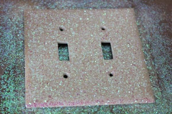 glitter on light switch plate